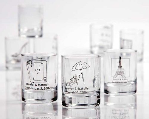 Personalized Shot Glass/ Votive Holder with over 40 Design Choices - Baby Shower Gifts & Wedding Favors (Set of - Personalized Shotglasses