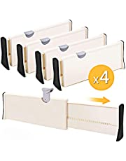 4-Pack Adjustable Drawer Dividers Organizer Separators - Good Grips Dresser Organizer - for Bedroom, Bathroom, Closet, Baby Drawer, Desk, Kitchen Storage