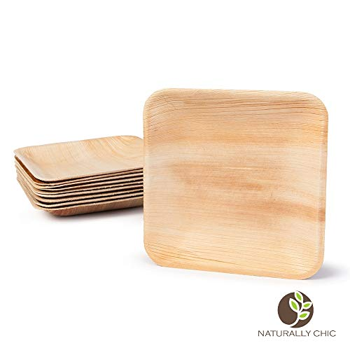"Naturally Chic 6"" Square Disposable Palm Leaf Plates - 25 Pack - Small Dinnerware Set - Eco-Friendly, Biodegradable & Compostable - Ideal for Weddings, Parties, Home Use, Events"