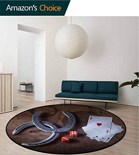 RUGSMAT Western Dining Room Home Bedroom Carpet Floor Mat,Card Game Dices Horseshoes Printed Round Carpet for Children Bedroom Play Tent Round-71