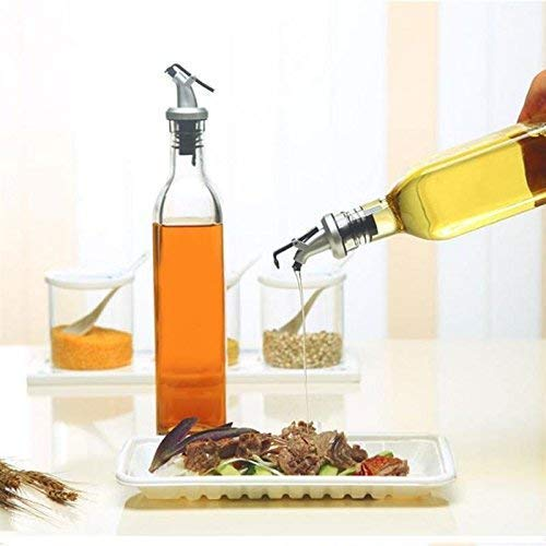 QUALITYZONE Glass Oil and Vinegar Storage Bottle Cruet Seasoning Set for Dining Table and Home and Kitchen Sauce Bottle Dispenser 500 ml(Transparent)(Pack of 1)