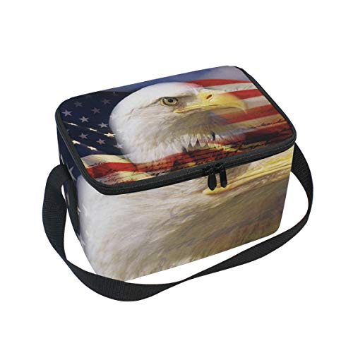 Lunch Box American Bald Eagle Womens Insulated Lunch Bag Kids Zipper Lunch Tote