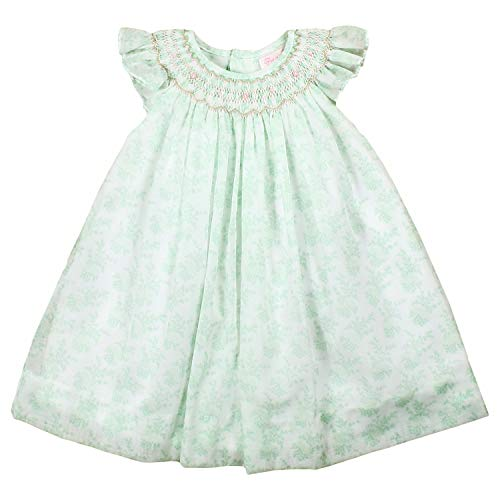 Petit Ami Baby Girls' Hand-Embroidered Floral Voile Smocked Dress, 12 Months, Mint