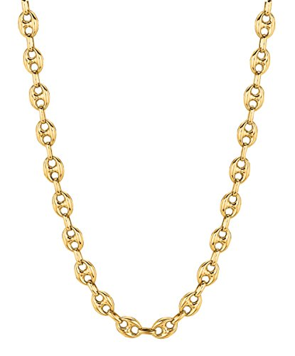 Anchor Links 14k Gold Chain - 14K Yellow Gold Puffed Anchor Mariner Link Necklace 18