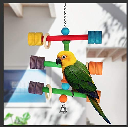 MOSNAI Bird Toy Ladder Triple Rung Natural Wooden for Small and Medium Bird Animal to Play ()