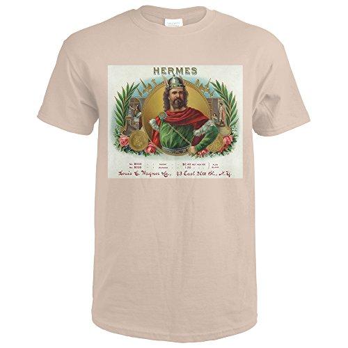 Hermes Box - Hermes Brand Cigar Box Label (Sand T-Shirt Small)