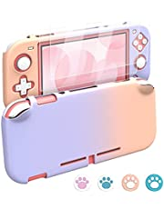 MoKo Protective Case for Switch Lite, PC Protective Case Cover with 4 Thumb Grip Caps & 2 HD-Clear Tempered Glass Screen Protectors, Shock-Absorption Anti-Scratch Non-Slip Case, Pink + Purple