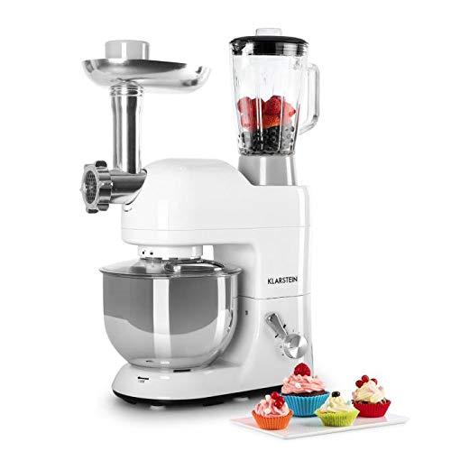 KLARSTEIN Lucia Bianca • Multifunction Stand Mixer • Kitchen Machine • 650 Watts • 5.3 qt Bowl • 1.3 qt Mixing Glass • Meat Grinder • Pasta Maker • Blender • Adjustable Speed • White by KLARSTEIN