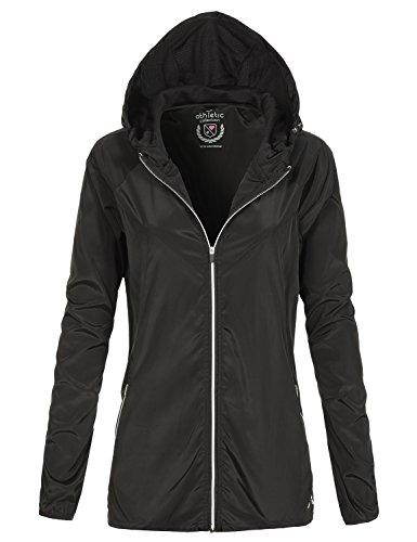 Waterproof Comfortable Basic Light Wind Rain Jackets, 098 - Black, US M, 098 - Black, Medium