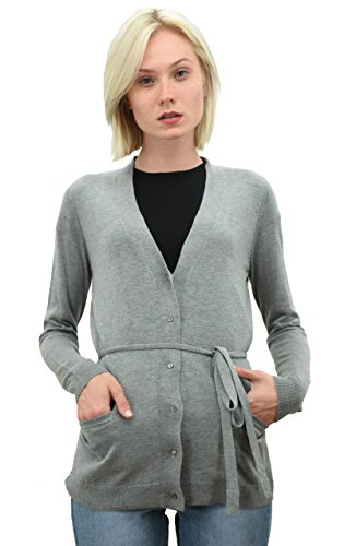 PHILIPPE LE BAC Women's Long Sleeve Button Down Cardigan - Cashmere Silk With Stylish Belt Cashmere Summer Cardigan