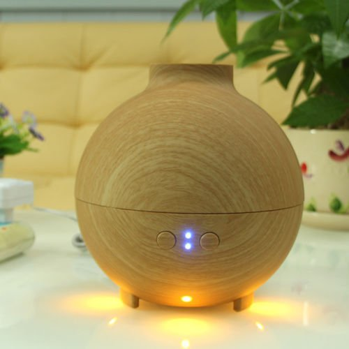 Unishow Aroma Essential Oil Humidifier with Colorful LED Lights and Cool Mist w/ FREE SCENT OIL (Wooden Ball Style)