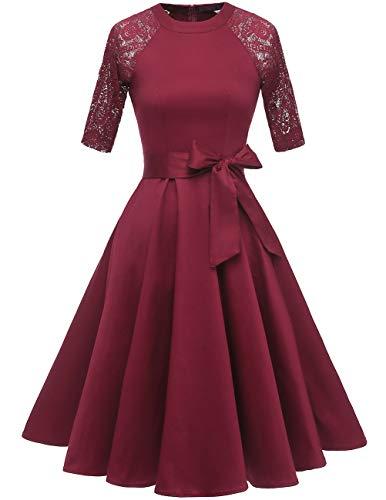 (DRESSTELLS Women's Vintage 50's Retro Rockabilly Cocktail 3/4 Sleeves A-line Prom Party Dress Burgundy)