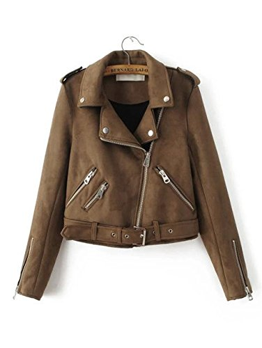 - Women Suede Motorcycle Jacket Slim Brown Full Lined Soft Faux Leather Coat - Suede Brown, S