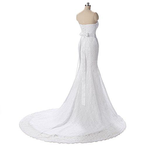 Sposa Delle Yinyyinhs Della Abiti Bianco Dell'innamorato Merletto Abiti Increspature Da Sposa Sirena Donne Da SwaSUznq