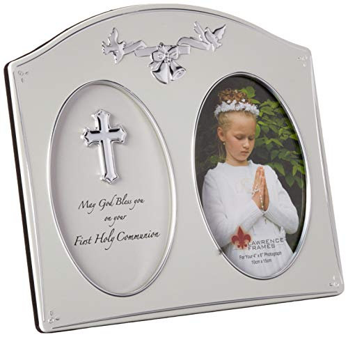 Lawrence Frames Silver Metal 4 by 6 Holy Communion Picture Frame