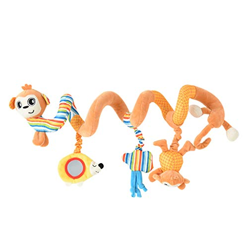 Sagton Crib Hanging Toys For Baby With Rattles Baby Activity Spiral Wrap Around Crib Bed Bassinet Stroller Rail Toy Animals Style (C)