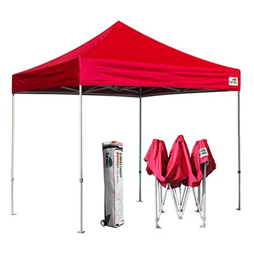 Eurmax Basic 10x10 Feet Ez Pop up Canopy Tent Outdoor Instant Portable Party Tent Shade Gazebo Bonus Wheeled Storage Bag (Red)
