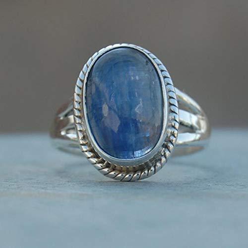 Kyanite Ring, Oval Cab Blue Kyanite Gemstone 925 Sterling Silver Ring, Unisex Ring, Wedding Gift Ring, Kyanite Silver Jewelry, Engagement Ring, Twisted Design Handmade Jewelry