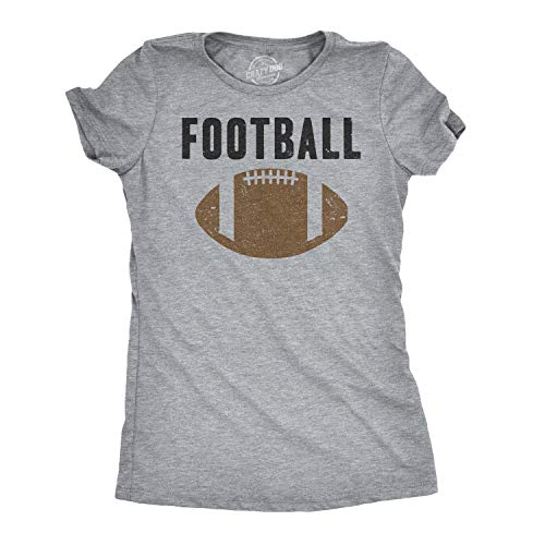 Womens Vintage Football Text Sports Distressed Football Laces Sporty T Shirt (Heather Grey) - M