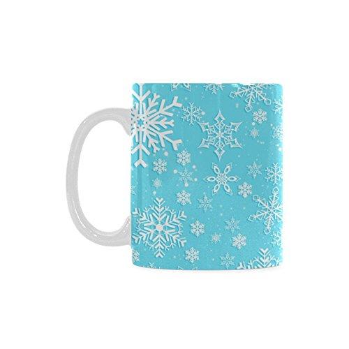 Original Lovely Christmas Gift Holiday Winter Snowflake Nice White Ceramic Mug (Snowflake Mug Christmas)