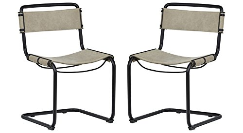 Rivet Mid-Century Industrial Canvas Set of 2 Dining Room Kitchen Chairs, 31.5 Inch Height, Grey