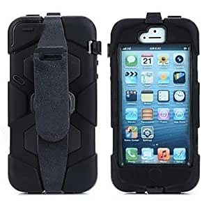 GDW Water Proof Full Body Silicone and Plastic Case with Belt Clasp for iPhone 5/5S (Black)