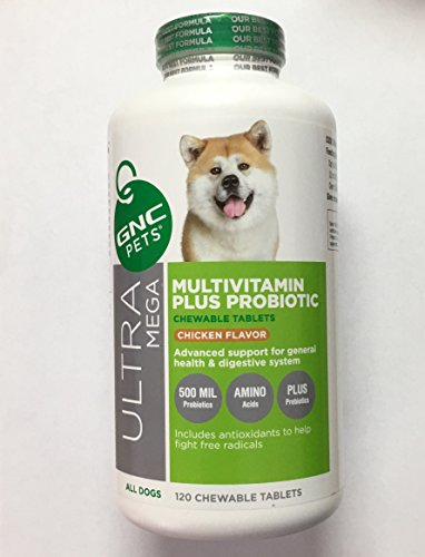 G N C Pets Ultra Mega MultiVitamin Plus Probiotic All Dogs 120 Tablets Chicken Flavor (120 Dog Tablets)