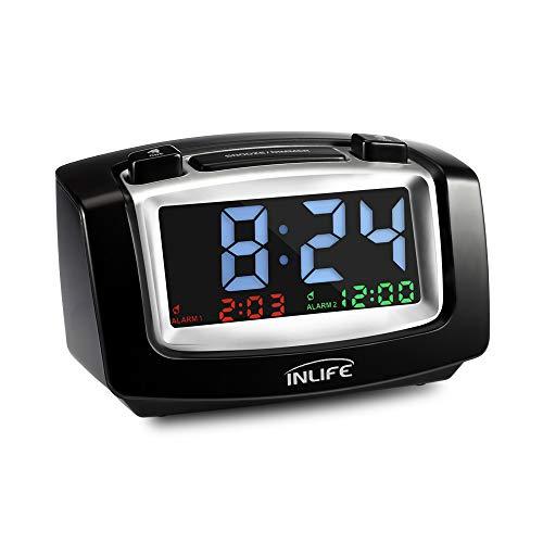 INLIFE Reloj Despertador Digital con Doble Alarma Brillo Ajustable con Función de Snooze con Doble Puertos de Carga USB