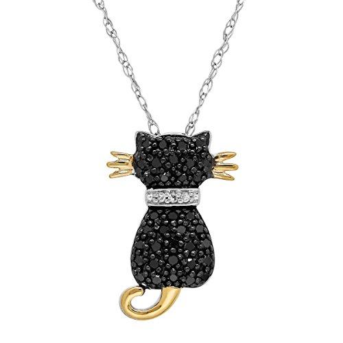 [1/5 ct Black & White Diamond Two-Tone Cat Pendant Necklace in 14K Gold & Sterling Silver] (Gold Diamond Cat Pendant)