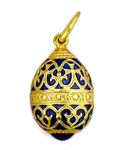 (Religious Gifts Sterling Silver Gold Tone Hand Enameled Russian Egg Pendant 1)