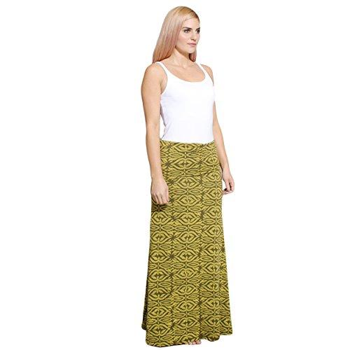 Silly yogi Women's Batik Organic cotton Long Foldover Maxi skirt-Sage-M/L