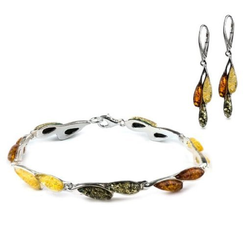 Sterling Silver Multicolor Amber Dreams Leverback Earrings Bracelet 7.5 Inches Set Amber by Graciana 40675