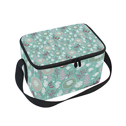 Mirage Sunflowers And Butterflies Large Insulated Lunch Bag for Women Men and Kids Soft Leak Proof Cooler Lunch Box with Adjustable Shoulder Strap Zipper for Work Picnic Camping