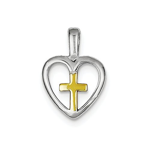 ICE CARATS 925 Sterling Silver Vermeil Cross Religious Heart Pendant Charm Necklace Latin Fine Jewelry Ideal Mothers Day Gifts For Mom Women Gift Set From Heart
