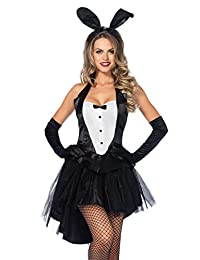 Leg Avenue Women's 3 Piece Tux and Tails Bunny Tuxedo Costume