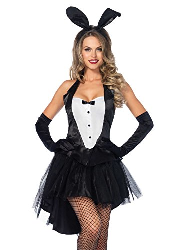 Leg Avenue Women's 3 Piece Tux And Tails Bunny Tuxedo Costume, Black/White, Small/Medium -