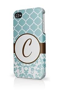 Letter C Monogram Initial Elegant Aqua Damask iPhone 4 Case Fits iPhone 4 & iPhone 4S Full Print Plastic Snap On Case