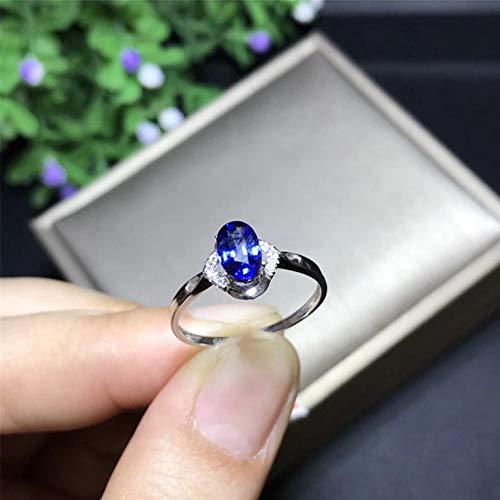 Natural Ceylon Blue Sapphire Ring, September Birthstone, 18K Solid White Gold Genuine Diamond Rings For Women, Engagement Wedding Ring ()