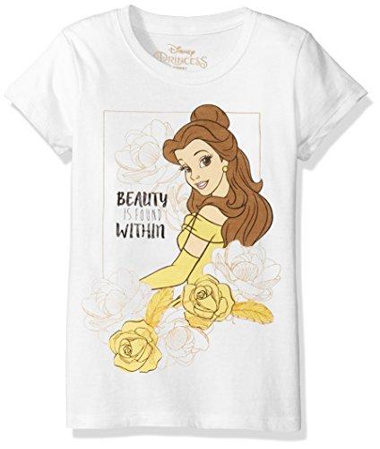 Disney Little Girls' Beauty and the Beast Belle T-Shirt, White, (Beauty White T-shirt)