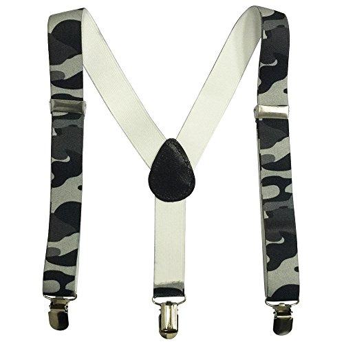 AINOW Kids and Baby Boys Girls Elastic Camouflage Y-Back Adjustable Elastic Suspenders (Grey Camouflage) (Kids Suspenders Camo)