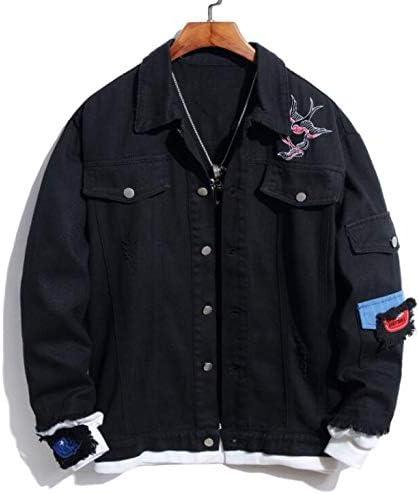 メンズフローラルデニムジャケット、磨耗したタイトフィットスリムフィットストレッチバラ刺繍コート、洗われたカジュアルトラック運転手デニムジャケット、ファッションスリムボタンシャツ