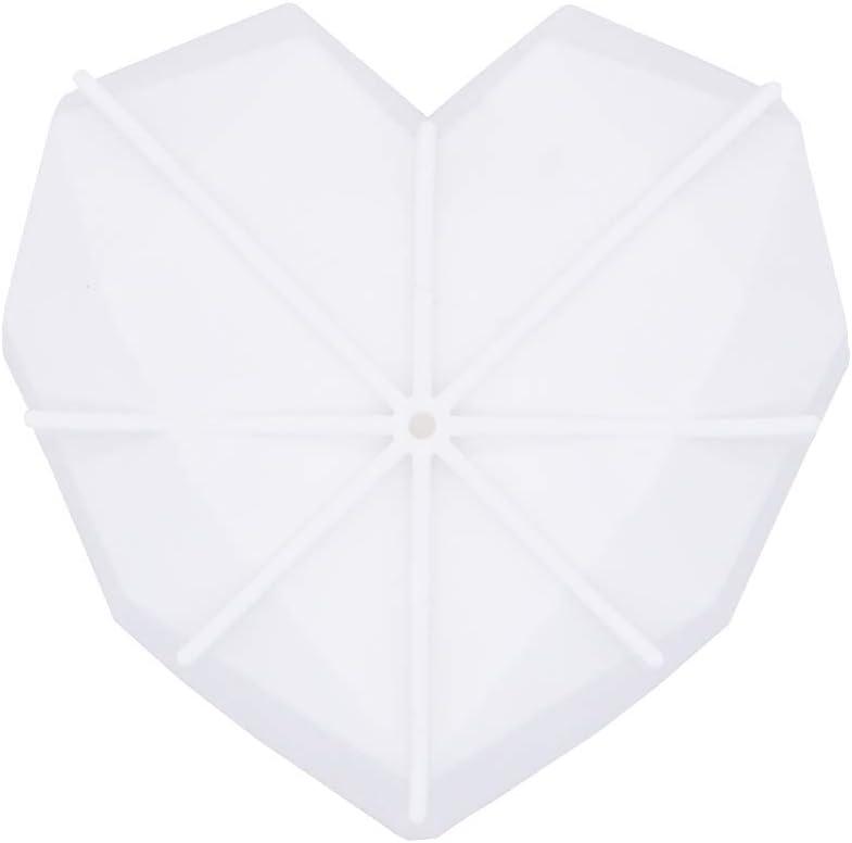 moldes hechos a mano POFET 2 moldes de jab/ón con forma de coraz/ón de diamante 1 cavidad de silicona para jab/ón de manualidades