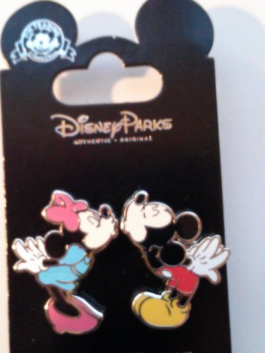 Disney Parks Mickey Mouse & Minnie Mouse Magnetic Kiss Pin (2 Pins)