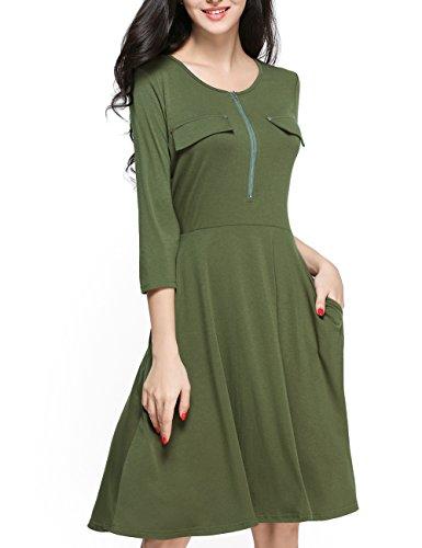 Sleeve 3/4 Dress Nursing (Girl2Queen Women's 3/4 Sleeve O-Neck Fit and Flare Dress with Pocket, Long Sleeve Aline Dress, 3/4 Sleeve Midi Dress)