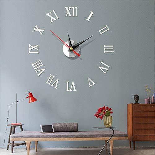 Fhing 3D Large Roman Digital Sticker Wall Clock DIY Modern Design Acrylic Metal Mirror Clock Adjusted According to Wall Size