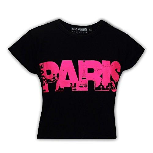 "Price comparison product image Kids Girls "" I LOVE PARIS "" Print Fashion Crop Top Trendy T Shirt Age 7-13 Years"