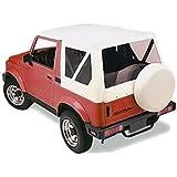 Sierra Offroad Suzuki Samurai Soft Top 86-94 in White Leather Grain Vinyl with Clear Windows