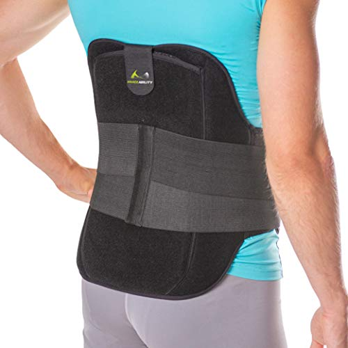 BraceAbility LSO Back Brace for Herniated, Degenerative & Bulging Disc Pain Relief, Sciatica, Spine Stenosis | Medical Lumbar Support Device for Post Surgery & Fractures with Hot/Cold Therapy (M)