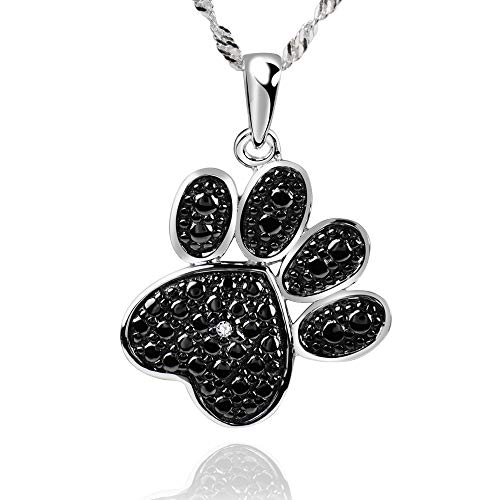 (GemsChest 925 Sterling Silver Diamond Accent Black Plated Paw Print Pendant Necklace)