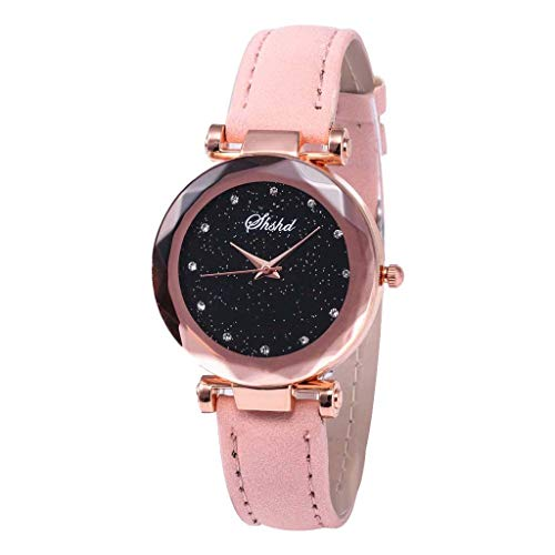 (Sodoop Watchs for Women,Luxury Inlay Diamond Starry Dial Quartz Leather Chronograph Belt Ladies Quartz Waterproof Sale Watch (Pink))